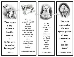 Printable Bookmarks, Dogs in Pencil With Quotes About Dogs, Black and ...