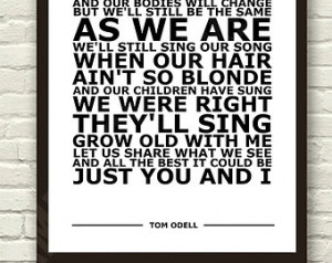 Tom Odell - Grow Old With Me - White Lyric Art Typography Print Poster ...