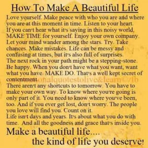 firday quotes: how to make a beautiful life