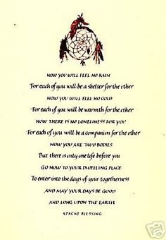 sayings & blessings, prayers | Native American APACHE WEDDING BLESSING ...