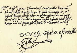 sample of Cesare's surviving handwriting, with his signature at the ...
