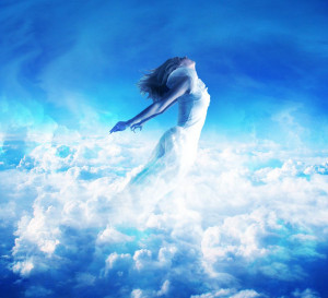 Lady Blue White Clouds Fly