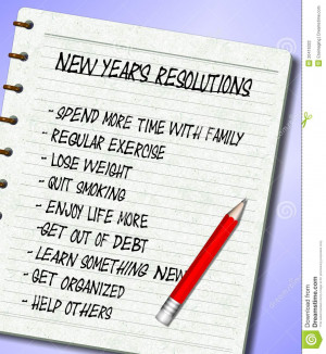 list of New Year's resolutions written on a note pad.