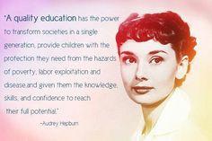 Audrey Hepburn quote about education #smart #women More