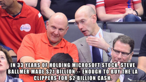 stock, Steve Ballmer made $21 billion -- enough to buy the LA Clippers ...