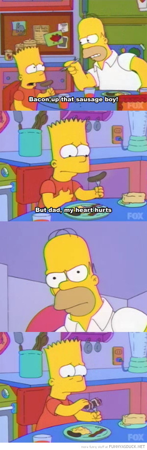 simpsons tv scene bart homer bacon sausage boy funny pics pictures pic ...