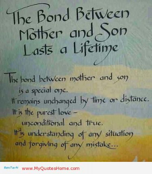 ... Son Lasts A Lifetime, The Hand Between Mother And Son In A Special One