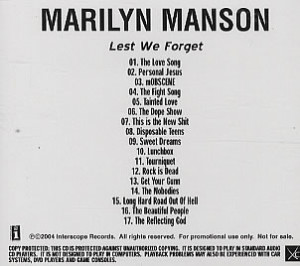 MARILYN MANSON Lest We Forget (Scarce 2004 US 17-track advance promo ...