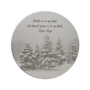 Winter Scene-Snowy Trees with Quote Coasters