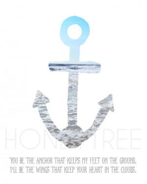 5x7 print- Anchor with beach scene print,