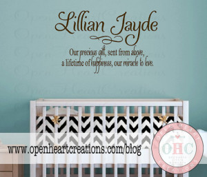 Baby Nursery Wall Sayings - Nursery Wall Quotes - Baby Name Vinyl Wall ...