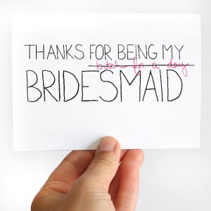 Thanks For Being My Bridesmaid Card - Bridesmaid Thank You Card