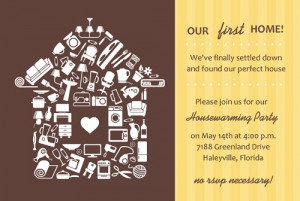 Brown And Yellow Stripe Housewarming Party Invitation