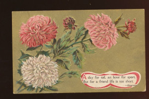 ... Vibrant Flowers~ Emerson Quote~ Gold Emboss~ Antique Postcard-zz-911