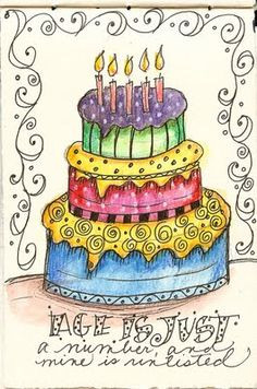 Art du Jour by Martha Lever: Journal cake---no calories! More