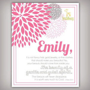 Scripture Bible Verse 8x10 Art Print for Girls Room 1 by buhbay, $18 ...
