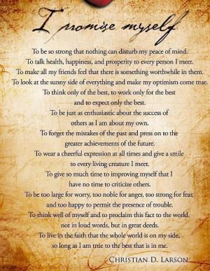 Motivational Poem I promise by Christian D Larson
