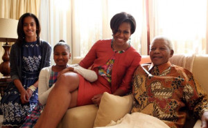 Meeting: Michelle Obama and daughters Malia and Sasha met with Nelson ...