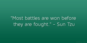 "Most battles are won before they are fought."" – Sun Tzu"