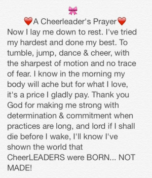 Cheerleader's Prayer Now I lay Me Down To Rest