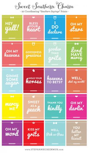Southern Sayings: Pick 3 - 8 x 10 Sweet Southern Charm Prints