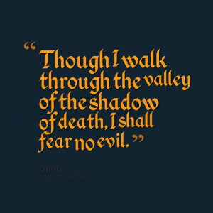 Quotes Picture: though i walk through the valley of the shadow of ...
