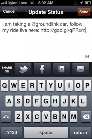 lets you post an update to your social networks to let your friends ...