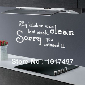MY KITCHEN WAS CLEAN ... FUNNY DINING ROOM QUOTE WALL ART DECAL ...