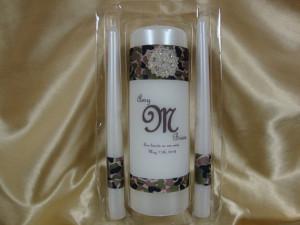 Wedding Unity Candle Set with Camouflage Deco