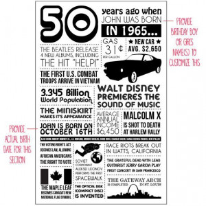 Personalized 50th Birthday Poster 1965