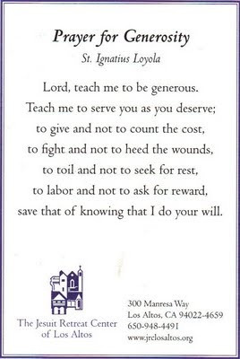 Prayer for Generosity by St. Ignatius of Loyola