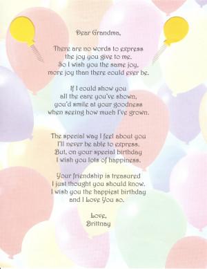 Poems For Grandma Birthday