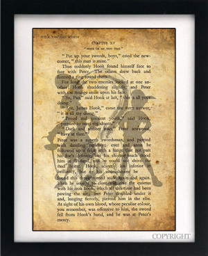 Peter Pan and Captain Hook Art Book Print - A4 or A3 Large Vintage ...