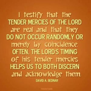 David A. Bednar quote about tender mercies of the Lord & his timing.