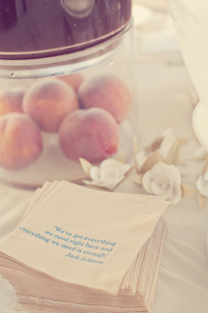 Quotes from favorite books on napkins.