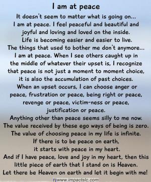 am at peace! ♥