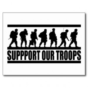 Support Our Troops ~ American Military Patriot Postcard