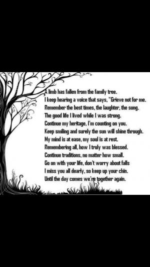 Losing a family member.....