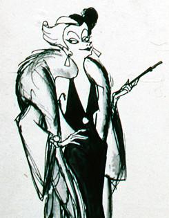 101 Dalmatians (1961) - Early Cruella de Vil concept art © Marc Davis