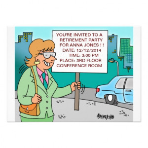 HUMOROUS CORPORATE CARTOON RETIREMENT INVITATIONS