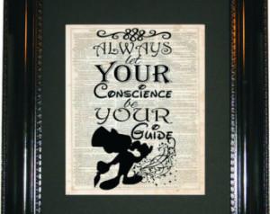 Jiminy Cricket quote, Dictionary Ar t Print, Vintage Dictionary ...