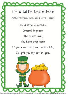... poems cards ideas leprechaun poems leprechaun songs st patricks day