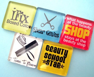 Hair Stylist Funny Glass Magnets Set - Cosmetology - Inch Glass
