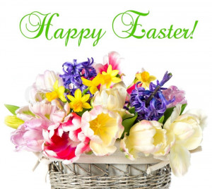 Stock image of 'Happy Easter! tulips, narcissus and hyacinth colorful ...