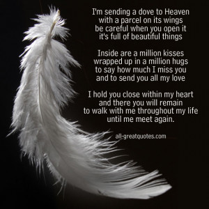 In Loving Memory Cards – I'm sending a dove to Heaven with a ...