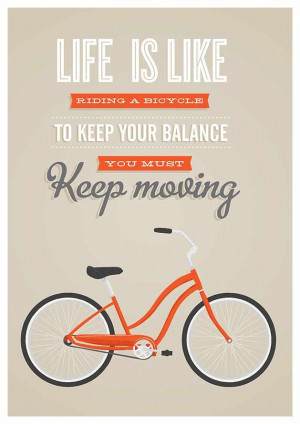 quote poster print, bike quote, inspirational quote, retro bike ...