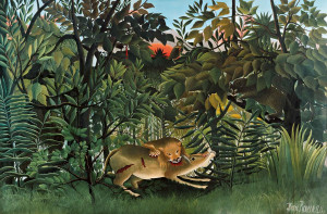 The Hungry Lion Throws Itself on the Antelope, 1905 by Henri Rousseau