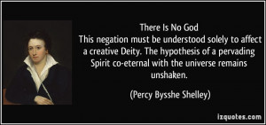 There Is No God This negation must be understood solely to affect a ...