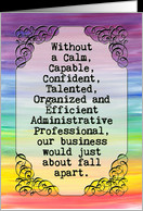 Administrative Professionals Day card, vintage banner, rainbow colors ...