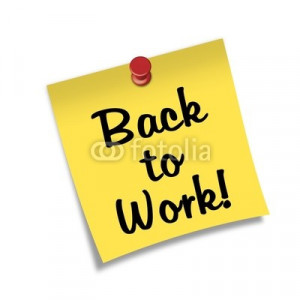 Ilustración: Post-it con chincheta texto Back to Work!